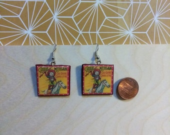 Cirque Mexicain Los Gatos Caballistas Earring dangle jewelry, cute cat riding horse, puss in boots jewelry for cat lovers, kittens funny