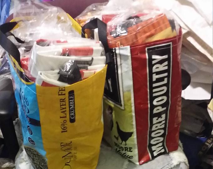 Bulk Order - Recycled Feed Bag Totes - feed sack tote, recycled bag tote, grocery bag, grocery tote, bag ban California wholesale bulk