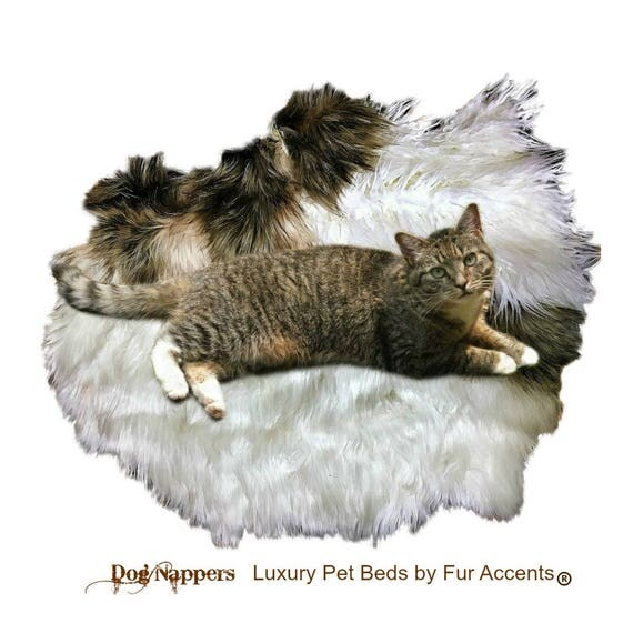 Shaggy Soft Padded Luxury Faux Fur DogNapper Dog Bed Tabby