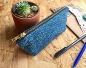 Pencil Case Navy Dashes // Deep Blue Patterened Pencil Pouch Stationery Organiser