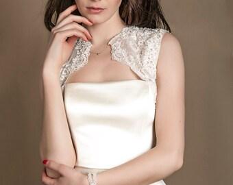 1950s style bridal bolero, vintage wedding shrug, ivory lace bridal shrug, beaded lace wedding bolero, silk bridal wrap, silk bridal bolero