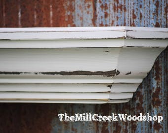"Wall Shelf 60"" Distressed Wood Fireplace Mantel Crown Molding Floating Mantle Wooden Headboard Farmhouse Home Decor Barn Ledge"