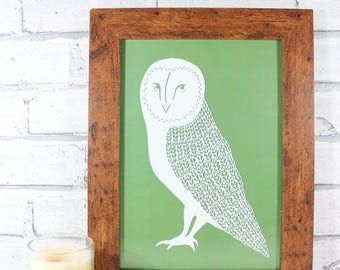 PRINT - Mrs Owl print from original papercut by QueenieDot