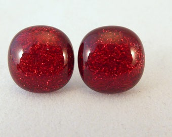 Red Stud Earrings, Fused Glass, Dichroic, Fused Glass Earrings, Glass Earrings, Dichroic Earrings, Stud Earrings, Dichroic, Studs, Red