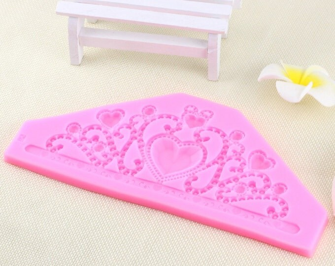 Queen Crown Large Silicone Mold - CT-854A - Baking Fondant Happy Birthday Party Princess Tiara Heart Lace