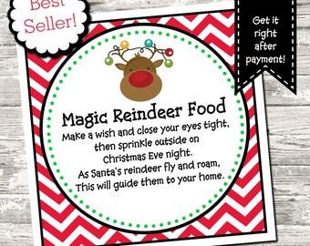 INSTANT DOWNLOAD Reindeer Food Tag Digital Printable