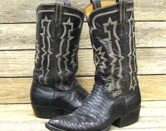 Tony Lama Men's 7 Rich Brown Reptile Lizard Leather Western Cowboy Boots