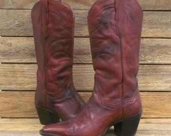 Vintage Dan Post Ladies 7 1/2M Marbled Mahogany Leather Cowgirl Western Boots