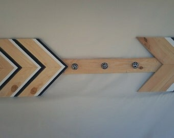 Black and White Arrow, Arrow Coat Hanger, Arrow Coat Rack, Tribal Decor, Foyer Decor,