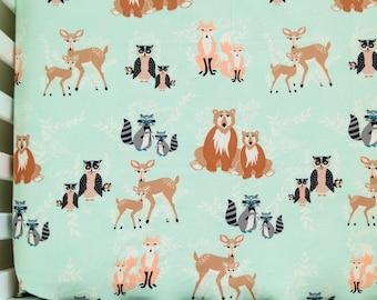 Hello Bear in Mint Baby Sheets, Crib or Pack n' Play Sheets, Hello Meadow Sheet, Fox, Bear, Deer, Owl Bedding, Nursery Decor, Baby Bedding