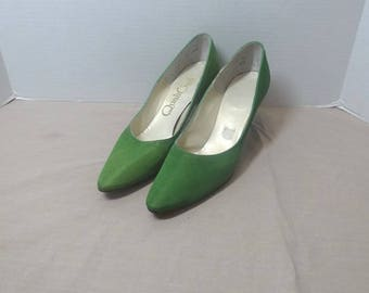 1980s Vintage Quali Craft High Heel Shoes, Size 7.5 AAAA, Kelly Green Pebbled Fabric, 2.5 In. Stileto Heels, Vintage Shoes, 1980s Fashion