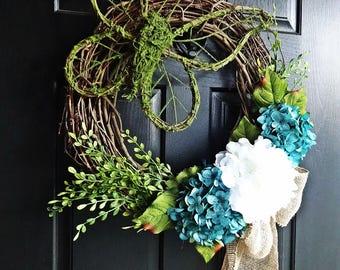 Butterfly Wreath, Spring Wreath, Moss Wreath, Summer Wreath, Summer Hydrangea Wreath, Burlap Bow Wreath
