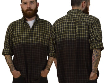 Large Brown Dip-Dye Flannel