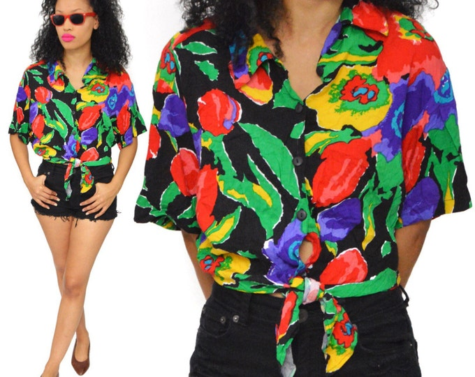 Vintage 80s Impressions Multicolor Floral Belly Tied Button Down Shirt Top