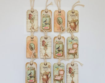 Sticker Sheet – 3D Stickers – Vintage Tags Cards Hang Tags– Embellishments – Mason Jars Birds – Shabby Chic