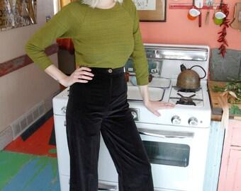 """1970s Vintage Black Velvet High Waist Bell Bottoms Vtg JC Penny 26"""" Waist Hippie Boho Fashion"""
