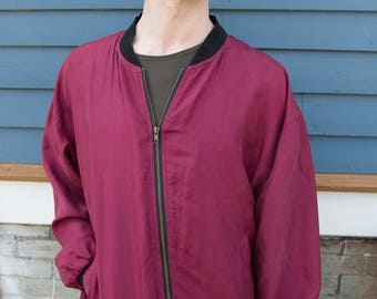 1990's Silk Vintage Bomber Jacket  Mint Condition Size Large Menswear Windbreaker Jacket by Jazzman