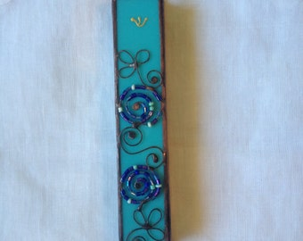 MEZUZAH CASE TURQUOISE Color with Beads Filligree.Stained Glass-Wall Hanging,Jewish Housewarming Gift