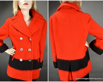 Hudson Bay Point Blanket Coat Red / Vintage 1950s /Double Breasted Pea Coat HBC Jacket / Ladies M to L