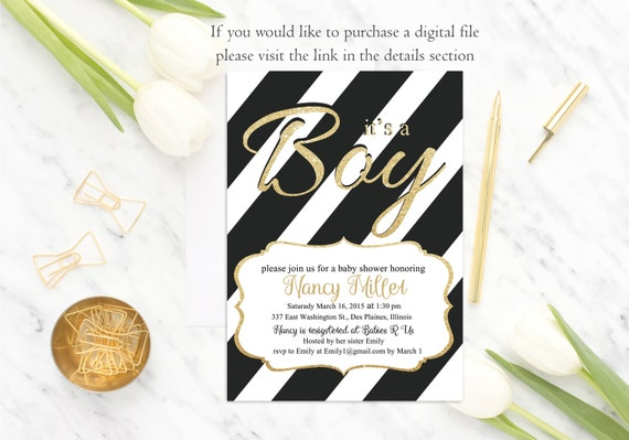 Black White Baby Shower Invitation It's a Boy Baby Shower Invite, Gold Glitter, Stripes , Modern baby shower invitation, Digital or Printed