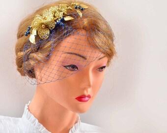 Gold birdcage veil headpiece Birdcage veil headband Bridal veil fascinator Simple fascinator Bridal headpiece  Flower headpiece