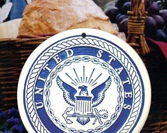 Navy Porcelain Bread and Bun Warmer