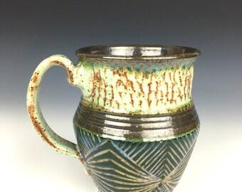 green geometric pottery mug, green mug, coffee mug, ceramic mug, ceramic cup, green cup