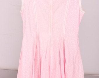 Vintage 50's Girls Dress / Pretty in Pink Cotton dress / white pink flower dress / summer dress / size 10 / Easter dress / princessline dres