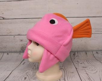 Adult Pink Tropical Fish Fleece Hat