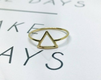 Triangle ring, Gold triangle ring, Geometric ring, Geometric gold ring, Hollow triangle ring, Gold filled ring, Christmas gift,