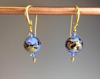 """Venetian Murano earrings ~  Blue Venetian glass Jewelry ~ blue earrings ~ Gold Vermeil earrings ~ gift idea ~ Artisan earrings ~ """"World"""""""
