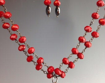 "Red Coral necklace ~ Hematite heart pendant ~ Valentine's Day jewelry ~ double strand necklace ~ Heart necklace ~  ""Valentine"""