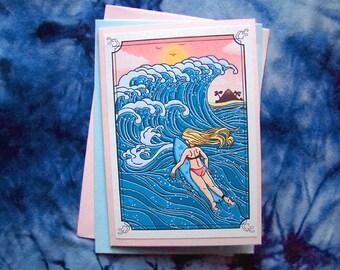 Summer Surfer - greeting card featuring original art