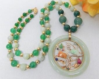 14k Yellow Gold jade bead gemstone pendant necklace