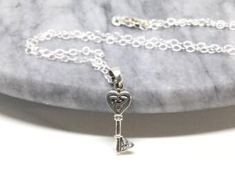 Celtic Key Necklace Sterling Silver Key Necklace Tiny Skeleton Key  Heart Charm Small Pendant Dainty Celtic Necklace