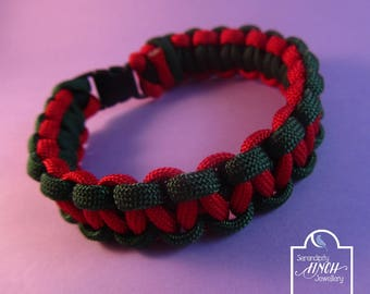 Green Red Paracord Bracelet, Cobra Paracord Bracelet, Green Red Bracelet, UK