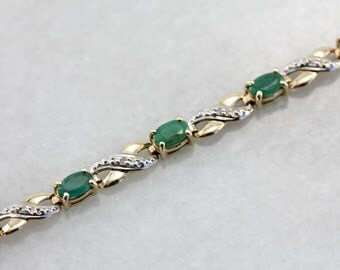 Infinity Link Emerald Tennis Bracelet in Yellow and White Gold 74R5RQ-R