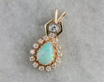 Unique Opal and Diamond Halo Pendant WHYK6L-R