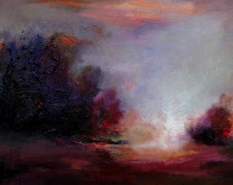 "Original Painting by CES - Large Abstract Landscape Tonalism Minimalist Textured Trees Sky Purple Orange Canvas Wall ART 20"" x 40"" Canadian"