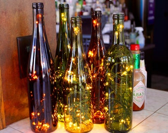 Three Recycled Wine Bottle Lights - Wine Bottle Lamp - Wine Decor - Wine Gifts - Lighted Wine Bottle - Gifts for Her - Wedding Gift