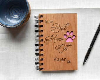 Mothers Day Gift for Pet Lovers. Pink Cat Wood Spiral Notebook. Best Mom Ever Gift for Her.