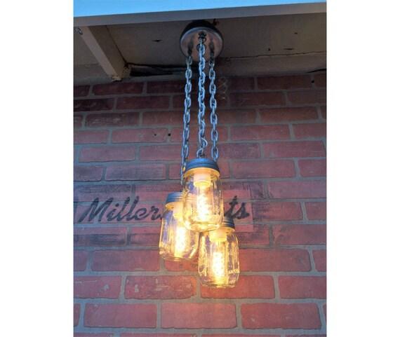 Rustic Industrial Lighting Chandelier Mason Jar Chandelier: Pint Mason Jar ChandelierRustic Lighting Mini By MillerLights