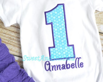 Girls First birthday outfit!  Girls birthday shirt in purple and turquoise! 1st, 2nd, 3rd, 4th, 5th birthday outfit!