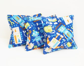 Kids Washable Bean Bag Toss - Robot Themed Birthday Party Game - Set of 3 - 4 inch beanbags - Fabric Toddler Toy - Party Favors - Gears