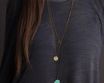 SOUTHWEST Layered Necklace Set / Bohemian Turquoise Necklace with Personalized Necklace / Long Necklace Boho Jewelry / Bohemian Fringe