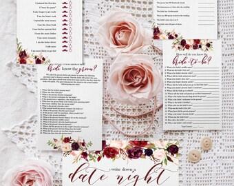 Marsala Bridal Shower Games, Merlot Bridal Shower Games, Printable Bridal Shower Games, Floral Bridal Shower Games, Maroon Bridal Games
