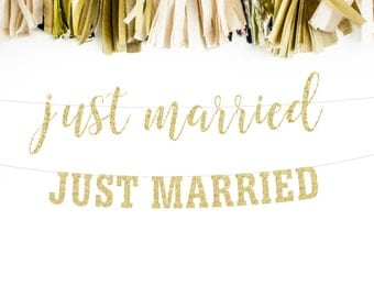 Just Married Banner, Just Married Sign, Just Married Garland, Just Married Prop, Bridal Banner, Reception Banner, Glitter Banner, Photo Prop