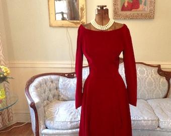 1950s Deep Red Velvet Full Skirt Dress Sweatheart Neckline