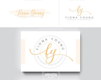 script monogram letters brush peach initials businesscards  simple modern feminine branding logo Identity artist makeup wedding photographer