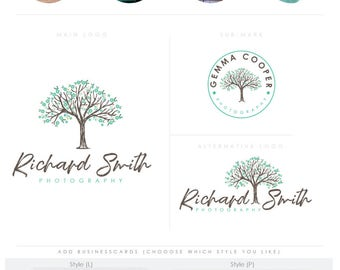 whimsical full bloom tree -  Premade Photography Logo and Watermark, handwriting Elegant Script Font TREE children photography branding kit